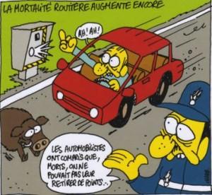Caricatures automobile Charlie Hebdo mortalité routière radar