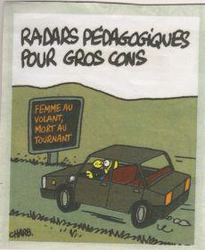 Caricatures automobile Charlie Hebdo radar pédagogique