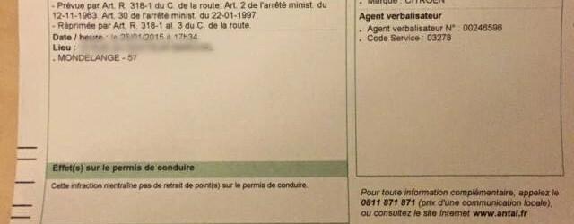 135€ d'amende pour un dégivrage