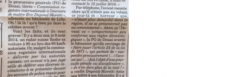 L'avocat Dupond-Moretti menacé de suspension pour un excès de vitesse