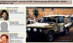 Nicolas Hulot au Paris Dakar 1980 en Range Rover V8