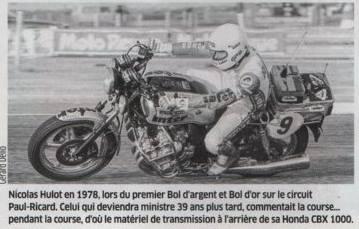 Nicolas Hulot à moto au Bol d'Or 1978