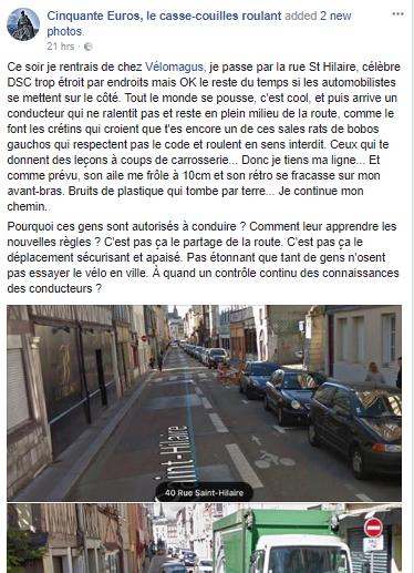 Un activiste pro vélo s'est-il vanté d'un délit de fuite ? (Rouen)