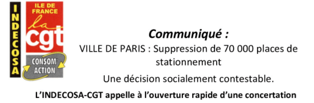 Paris : la CGT estime que la suppression de 70 000 places de stationnement est « socialement contestable »